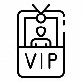 Vip Badge With Photo Icon. Outline Vip Badge With Photo Vector Icon For Web Design Isolated On White poster