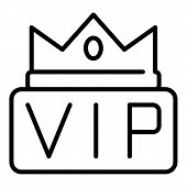 Crown On The Inscription Vip Icon. Outline Crown On The Inscription Vip Vector Icon For Web Design I poster