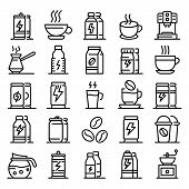 Energetic Drink Icons Set. Outline Set Of Energetic Drink Vector Icons For Web Design Isolated On Wh poster