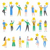 Set Of People Characters Holding Gold Stars. Men And Women Rate Services And User Experience. Juries poster