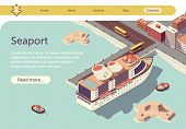 Seaport Isometric Banner With Ocean Liner And Place For Presentation Text. Transport Logistic Sea An poster