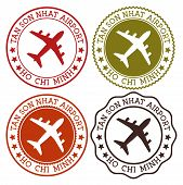 Tan Son Nhat Airport Ho Chi Minh. Ho Chi Minh City Airport Logo. Flat Stamps In Material Color Palet poster