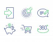 Message, Login And Shopping Cart Line Icons Set. Targeting, Saving Money And Full Rotation Signs. Sp poster
