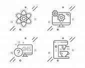 Chemistry Atom, Settings And Online Quiz Line Icons Set. Coffee Maker Sign. Laboratory Molecule, Cog poster