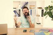 Inspired And Full Of Energy. Office Life Rhythm. Regular Office Day. Man Bearded Guy Headphones Sit  poster