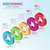 Infographics Business Template 3d With Circle Steps For Presentation, Sale Forecast, Web Design, Imp poster