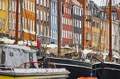 Copenhaguen City Center. Nyhavn Canal Cityscape Colorful Historic Buildings. Denmark poster