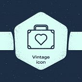 Grunge Line Suitcase For Travel With Heart Icon Isolated On Blue Background. Honeymoon Symbol. Trave poster