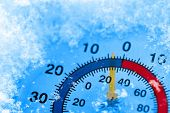 Thermometer showing winter cold poster