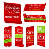 Christmas Ribbons. Xmas Holiday Red Fabric Sale Banners With Discount Offers. Realistic Vector Tag L poster