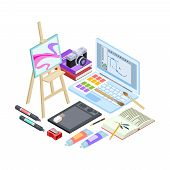 Isometric Stationery And Drawing Tools Isolated On White Background. Vector Art Tools, Brushes, Pain poster