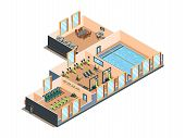 Fitness Center. Gym Club And Pool Interior Rooms With Equipment Cardio Exercise Aerobic Training Spa poster
