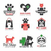 Pets Shop Logo. Veterinary Clinic For Domestic Animals Dogs Cats Protection Symbols Vector Design Te poster