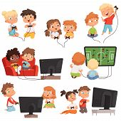 Video Gaming. Peoples Kids Boys And Girls Console Videogaming With Controllers Joystick Gamepad Funn poster