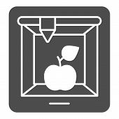 3d Food Printing Solid Icon. 3d Apple Print Vector Illustration Isolated On White. 3d Meal Printing  poster