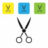 Black Scissors Hairdresser Icon Isolated On White Background. Hairdresser, Fashion Salon And Barber  poster