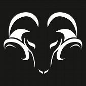 Stylized Ram Silhouette. Silhouette Of White Color Of A Muzzle Of A Ram. Sheep With Horns, Pet. Mode poster