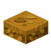 Soil Layers Vector Isometric Element. Platform Of Texture Of Soil. Game Design Ground 3d Isometric T poster