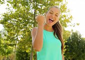 Success Winner Fitness Runner Woman Screams Of Happiness With Closed Eyes And  Fist Up Energetic Exc poster