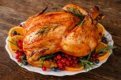 Christmas Turkey. Traditional Festive Food For Christmas Or Thanksgiving poster
