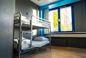 Hostel interior, metal bunk beds and linen, nobody poster