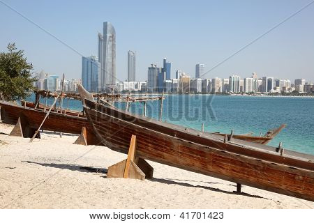 Boats On The Beach Of Abu Dhabi
