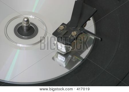 Cd Disc On Turntable