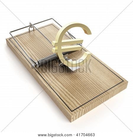 Wooden mouse trap with euro sign