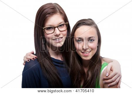 Portrait Of Two Happy Woman On White Background