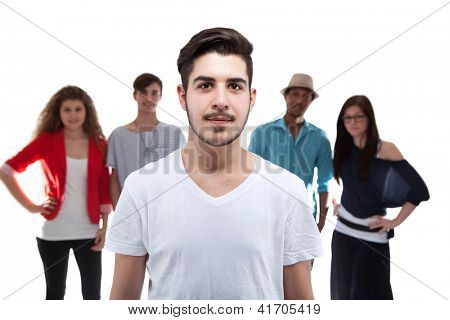 Handsome Man Standing In Front Of His Friends On White Background