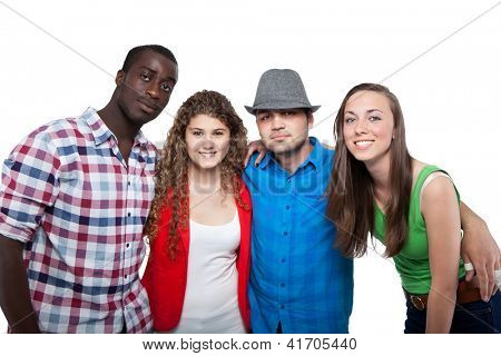 Group Of Happy Friends Smiling Isolated On White Background