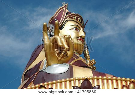 Big Golden Statue Of Padmasambhava Or Guru Rinpoche In Rewalsar,himachal Pradesh,india