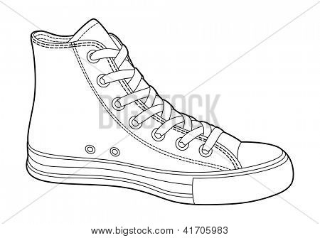 sneakers on white background (outline)