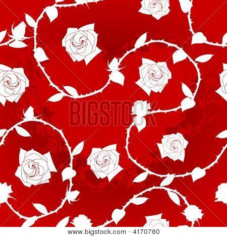 White On Red Seamless Rose Sari Pattern
