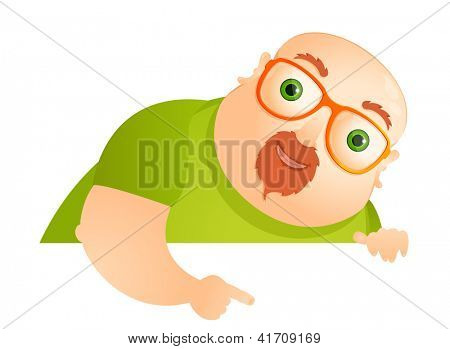 Cartoon Character Cheerful Chubby Man. Look Out. Vector Illustration. EPS 10.