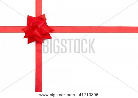 Red ribbon giftbow, isolated on white. Symbol of party and happy holiday