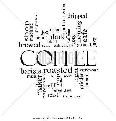 Coffee Word Cloud Concept In Black And White