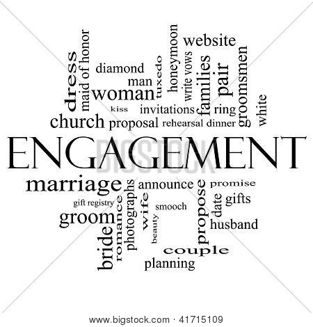 Engagement Word Cloud Concept In Black And White