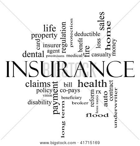 Insurance Word Cloud Concept In All Black
