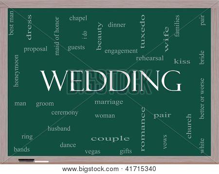 Wedding Word Cloud Concept On A Blackboard