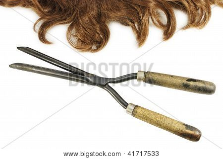 Vintage Curling Tongs And Waved Hair