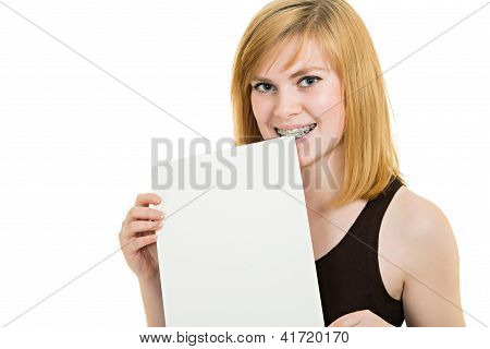 Smiling Girl With Brackets And White Billboard