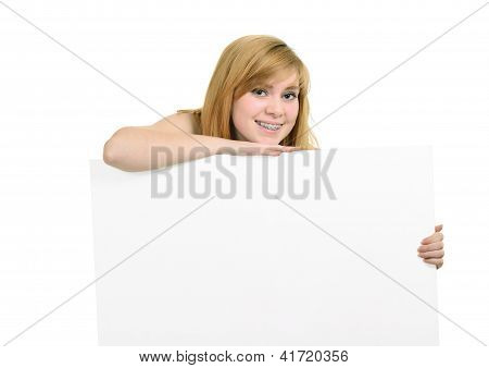 Young Girl With Brackets And White Billboard