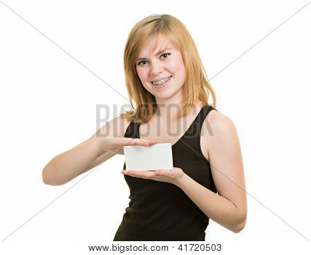 Young Girl With Brackets Hold Blank Paper Isolated On White Background