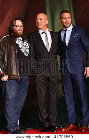 LOS ANGELES - JAN 31:  John Moore, Bruce Willis, Jai Courtney at the 'A Good Day to Die Hard