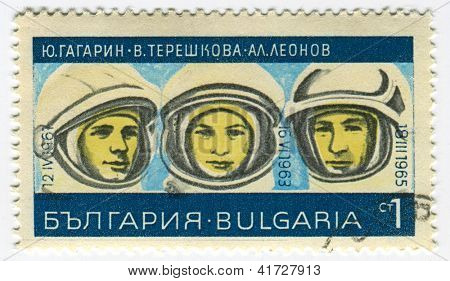BULGARIA - CIRCA 1967: Postage stamps printed in Bulgaria dedicated to Yuri Gagarin (1934-1968), Valentina Tereshkova (1937) and Alexey Leonov (1934), Russian cosmonauts, circa 1967.