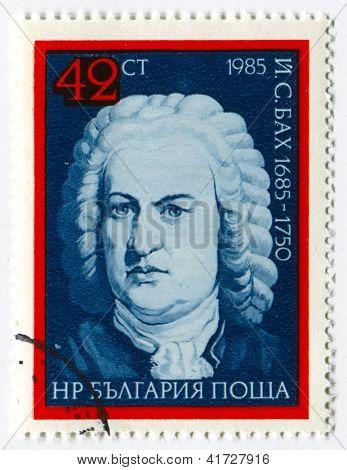 Bulgária - por volta de 1985: selos imprimido na Bulgária dedicada a Johann Sebastian Bach (1685 - 1