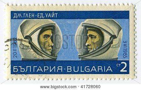 BULGARIA - CIRCA 1967: Postage stamps printed in Bulgaria dedicated to John Glenn (1921) and Edward White (1930-1967), American astronauts, circa 1967.
