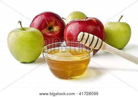 Red And Green Apples And A Bowl Of Honey