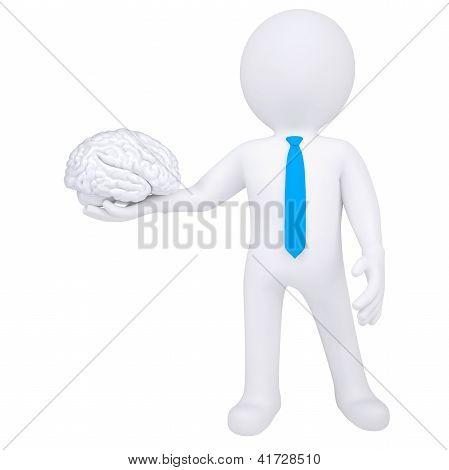 3D homem segurando um cérebro